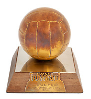 BNPS.co.uk (01202 558833)<br /> Pic: Julien'sAuctions/BNPS<br /> <br /> Pictured: Alfredo Di Stefano 1959 Paris, France, Ballon D'Or Award.<br /> <br /> An epic collection of medals, trophies, shirts and personal items relating to footballing legend Alfredo Di Stefano is being sold by his family for over £1m.<br /> <br /> Many of the awards won by the great goalscorer have, until recently, been on display at the Real Madrid Museum, the club where he played for most of his career.<br /> <br /> The Argentine-born striker is regarded as one of the best players of all-time and is often compared to Cristiano Ronaldo.<br /> <br /> During Di Stafano's time with Real Madrid in the 1950s and '60s, the Spanish giants dominated European football, largely due to his goals and assists.
