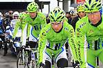 Cannondale Pro Cycling riders including Peter Sagan (SVK) wait for the race to restart in Cogoleto after heavy snow forces the race organizers to abandon part of the race over Passo del Turchino during the 104th edition of the Milan-San Remo cycle race, 17th March 2013 (Photo by Eoin Clarke 2013)