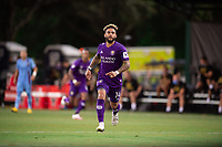 LAKE BUENA VISTA, FL - JULY 14: Dom Dwyer #14 of Orlando City SC running during a game between Orlando City SC and New York City FC at Wide World of Sports on July 14, 2020 in Lake Buena Vista, Florida.