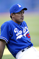 Chin-Feng Chen of the Los Angeles Dodgers before a 2002 MLB season game at Dodger Stadium, in Los Angeles, California. (Larry Goren/Four Seam Images)