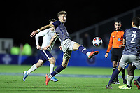 CARY, NC - DECEMBER 15: JB Fischer #8 of Georgetown University kicks the ball during a game between Georgetown and Virginia at Sahlen's Stadium at WakeMed Soccer Park on December 15, 2019 in Cary, North Carolina.