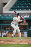 Fort Myers Miracle first baseman Robby Rinn (11) at bat during a game against the Lakeland Flying Tigers on August 7, 2018 at Publix Field at Joker Marchant Stadium in Lakeland, Florida.  Fort Myers defeated Lakeland 5-0.  (Mike Janes/Four Seam Images)
