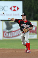 Batavia Muckdogs infielder Joey Bergman during a game vs. the Jamestown Jammers at Russell Diethrick Park in Jamestown, New York September 1, 2010.   Batavia defeated Jamestown 10-5.  Photo By Mike Janes/Four Seam Images