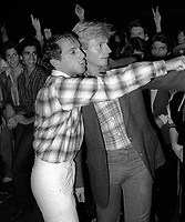 1978 FILE PHOTO<br /> New York City<br /> Studio 54 co-owner Steve Rubell<br /> with door master Marc Benecke<br /> Photo by Adam Scull-PHOTOlink.net (Newscom TagID: