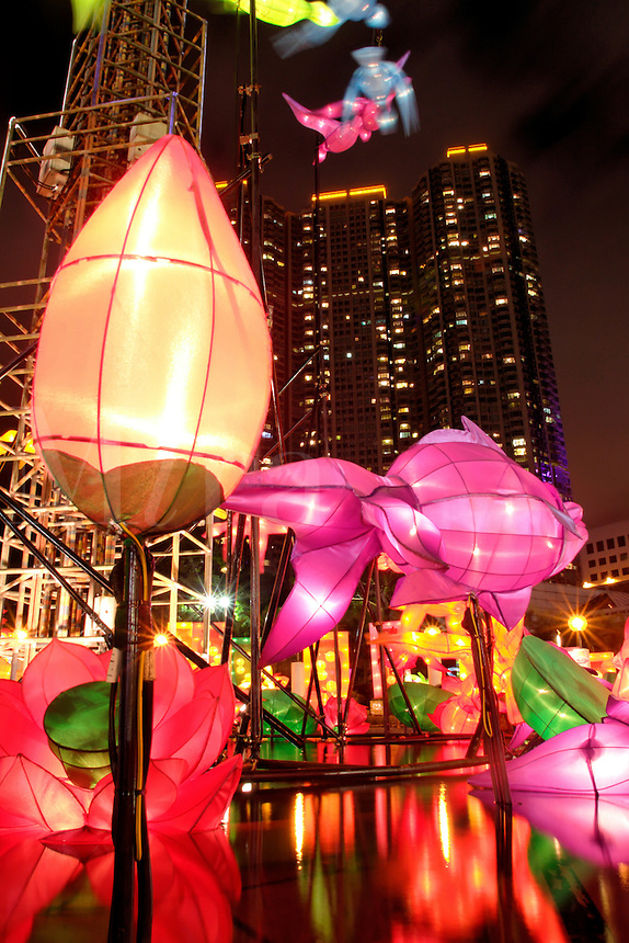 Illuminated fish and flower lanterns above pond displayed in celebration of Mid-Autumn Festival, Kowloon Park, Tsim Sha Tsui, Kowloon, Hong Kong SAR, China, Asi