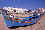 Europe, PRT, Portugal, Algarve, Albufeira, Typical fishing boat at the beach