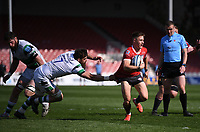 24th April 2021; Kingsholm Stadium, Gloucester, Gloucestershire, England; English Premiership Rugby, Gloucester versus Newcastle Falcons; Stephen Varney of Gloucester gets away from Gary Graham of Newcastle Falcons