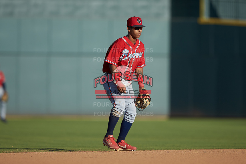 Rome Braves shortstop Carlos Paraguate (16) on defense against the Columbia Fireflies at Segra Park on May 13, 2019 in Columbia, South Carolina. The Fireflies walked-off the Braves 2-1 in game one of a doubleheader. (Brian Westerholt/Four Seam Images)