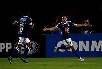 BOGOTÁ - COLOMBIA, 15-08-2018: Gabriel Hauche, jugador de Millonarios (COL), celebra el gol anotado a General Diaz (PAR), durante partido de vuelta entre Millonarios (COL) y General Díaz (PAR), de la segunda fase por la Copa Conmebol Sudamericana 2018, en el estadio Nemesio Camacho El Campin, de la ciudad de Bogotá. / Gabriel Hauche, player of Millonarios (COL), celebrates the scored goal to General Diaz (PAR), during a match of the second leg between Millonarios (COL) and General Diaz (PAR), of the second phase for the Conmebol Sudamericana Cup 2018 in the Nemesio Camacho El Campin stadium in Bogota city. VizzorImage / Luis Ramirez / Staff.