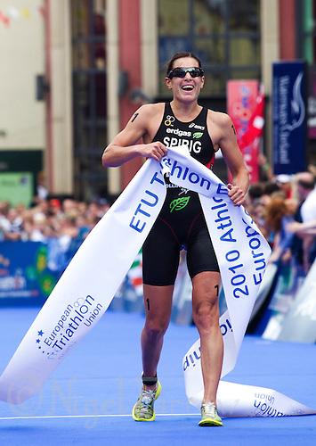 03 JUL 2010 - ATHLONE, IRL - Nicola Spirig (SUI) celebrates winning  the European Elite Womens Triathlon Championships .(PHOTO (C) NIGEL FARROW)