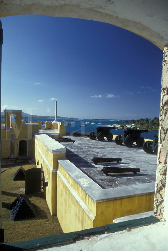 AJ2338, U.S. Virgin Islands, St. Croix, Caribbean, USVI, U.S.V.I., Virgin Islands, Fort Christiansvaern in Christiansted on Saint Croix Island, US Virgin Islands. Christiansted National Historic Site.