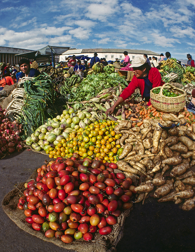 Colorful FRUITS and VEGETABLES for sale in the MARKETPLACE - OTAVALO, ECUADOR