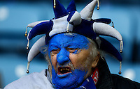 A Leicester City fan with painted face during the Barclays Premier League match between Leicester City and Swansea City played at The King Power Stadium, Leicester on 24th April 2016