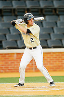 Mark Rhine (2) of the Wake Forest Demon Deacons at bat against the North Carolina State Wolfpack at Wake Forest Baseball Park on March 15, 2013 in Winston-Salem, North Carolina.  The Wolfpack defeated the Demon Deacons 12-6.  (Brian Westerholt/Four Seam Images)