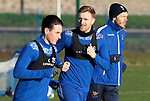 St Johnstone Training….Liam Craig pictured during training at McDiarmid Park running alongside Danny McNamara and Murray Davidson ahead of Sundays game against Celtic.<br />