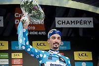 Julian Alaphilippe (FRA/Deceuninck - Quick-Step) wins the 2019 Dauphiné Polka Dot Jersey / KOM leader<br /> <br /> Stage 8: Cluses (FRA) to Champéry (SUI)(113km)<br /> 71st Critérium du Dauphiné 2019 (2.UWT)<br /> <br /> ©kramon