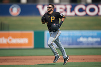 Pittsburgh Pirates Dylan Busby (17) jogs to the dugout during a Florida Instructional League game against the Detroit Tigers on October 16, 2020 at Joker Marchant Stadium in Lakeland, Florida.  (Mike Janes/Four Seam Images)