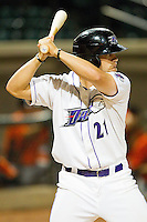 Brady Shoemaker #21 of the Winston-Salem Dash at bat against the Frederick Keys at BB&T Ballpark on May 29, 2012 in Winston-Salem, North Carolina.  The Dash defeated the Keys 8-7.  (Brian Westerholt/Four Seam Images)