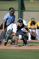Oakland Athletics catcher Bruce Maxwell (44) during an Instructional League game against the Chicago Cubs on October 16, 2013 at Papago Park Baseball Complex in Phoenix, Arizona.  (Mike Janes/Four Seam Images)