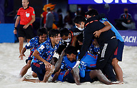 28th August 2021; Luzhniki Stadium, Moscow, Russia: FIFA World Cup Beach Football tournament; Semi final match Japan versus Senegal:  Japan players celebrate the victory after the match between Japan and Senegal