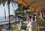 Spain, Canary Islands, La Palma, Puerto Naos: popular resort at the west coast with beach Playa de Puerto Naos, beach restaurant