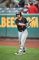 Daniel Castro (1) of the Albuquerque Isotopes waits to bat against the Salt Lake Bees at Smith's Ballpark on April 5, 2018 in Salt Lake City, Utah. Salt Lake defeated Albuquerque 9-3. (Stephen Smith/Four Seam Images)