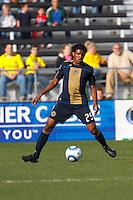 24 OCTOBER 2010:  Philadelphia Union defender Sheanon Williams (25) during MLS soccer game against the Columbus Crew at Crew Stadium in Columbus, Ohio on August 28, 2010.