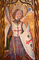 Gothic Catalan Altarpiece depicting the Archangel Gabriel by Bernat Martorell, circa 1442-1445, Tempera and gold leaf on wood.  National Museum of Catalan Art, Barcelona, Spain, inv no: MNAC  1442.