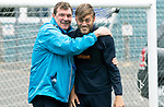 St Johnstone Training…17.08.18<br />Manager Tommy Wright pictured with Murray Davidson during training at McDiarmid Park this morning ahead of tomorrow's BetFred Cup game at Queen of the South…Murray will make his 300th appearance for saints tomorrow and was rewarded with a hug from 'The Gaffer'<br />Picture by Graeme Hart.<br />Copyright Perthshire Picture Agency<br />Tel: 01738 623350  Mobile: 07990 594431
