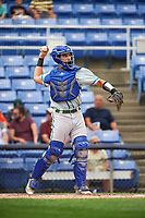 Hartford Yard Goats catcher Dom Nunez (9) throws the ball back to the pitcher during a game against the Binghamton Rumble Ponies on July 9, 2017 at NYSEG Stadium in Binghamton, New York.  Hartford defeated Binghamton 7-3.  (Mike Janes/Four Seam Images)