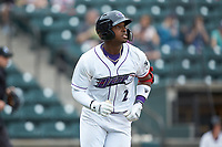 Yeyson Yrizarri (2) of the Winston-Salem Dash hustles down the first base line against the Salem Red Sox at BB&T Ballpark on April 22, 2018 in Winston-Salem, North Carolina.  The Red Sox defeated the Dash 6-4 in 10 innings.  (Brian Westerholt/Four Seam Images)
