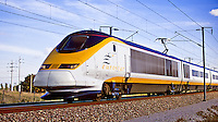 France.  Eurostar in the Pas de Calais, high speed train  which runs between London, Paris  and Brussels.