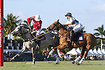 WELLINGTON, FL - JANUARY 08:  Julian de Lusarreta of Coca Cola and Inaki LaPrida of Grand Champions Polo Club  battle for the ball, during the early rounds of the Joe Barry Memorial Cup, at the International Polo Club, Palm Beach on January 03, 2017 in Wellington, Florida. (Photo by Liz Lamont/Eclipse Sportswire/Getty Images)