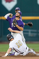 TCU Horned Frogs second baseman Garrett Crain (34) turns a double play against the Vanderbilt Commodores in Game 12 of the NCAA College World Series on June 19, 2015 at TD Ameritrade Park in Omaha, Nebraska. The Commodores defeated TCU 7-1. (Andrew Woolley/Four Seam Images)