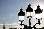 Street lamp in Concorde Square Place de la Concorde with Eiffel Tower in the background. Paris. France