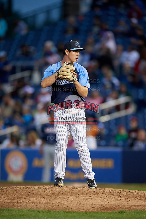 Trenton Thunder relief pitcher Chase Hodson (24) gets ready to deliver a pitch during a game against the New Hampshire Fisher Cats on August 19, 2018 at ARM & HAMMER Park in Trenton, New Jersey.  New Hampshire defeated Trenton 12-1.  (Mike Janes/Four Seam Images)