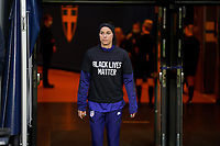 SOLNA, SWEDEN - APRIL 10: Alex Morgan #13 of the United States sporting a BLM shirt before a game between Sweden and USWNT at Friends Arena on April 10, 2021 in Solna, Sweden.