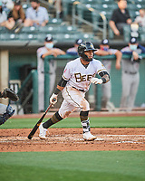Luis Rengifo (2) of the Salt Lake Bees at bat against the Reno Aces at Smith's Ballpark on May 6, 2021 in Salt Lake City, Utah. The Aces defeated the Bees 5-4. (Stephen Smith/Four Seam Images)