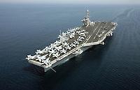 VP Cheney: departs the USS John C. Stennis in the Persian Gulf, 150 miles off the coast of the United Arab Emirates, via helicopter.  Wears flight jacket and helmet.  David Addington, Liz Cheney..JUMBO