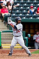 Alberto Rosario (24) of the Arkansas Travelers at bat during a game against the Springfield Cardinals on May 10, 2011 at Hammons Field in Springfield, Missouri.  Photo By David Welker/Four Seam Images.