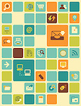 Illustration of social networking icons over colored background