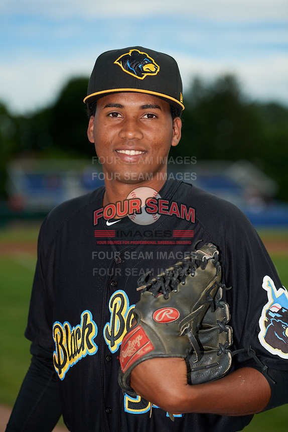 West Virginia Black Bears pitcher Francis Del Orbe (34) poses for a photo before a game against the Batavia Muckdogs on June 19, 2018 at Dwyer Stadium in Batavia, New York.  West Virginia defeated Batavia 7-6.  (Mike Janes/Four Seam Images)