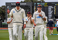 NZ bowlers Kyle Jamieson and Tim Southee walk off after both securing five-wicket bags from the first innings during day three of the second International Test Cricket match between the New Zealand Black Caps and West Indies at the Basin Reserve in Wellington, New Zealand on Friday, 11 December 2020. Photo: Dave Lintott / lintottphoto.co.nz
