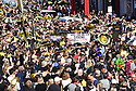 Saints fans gather in the streets to parade in protest of the Super Bowl because of the egregious no-call in the last minutes of the game that cost the Saints a trip to the Super Bowl.