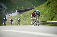 Ian Stannard (GBR/Sky) descending from the highest point in the 2016 Tour; the Port d'Envalira (Cat1/2408m/22.6km at 5.5%) with Brent Bookwalter (USA/BMC) right up his... well... 'behind' him...<br /> <br /> stage 10: Escaldes-Engordany (AND) - Revel (FR)<br /> 103rd Tour de France 2016