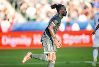 CARSON, CA - SEPTEMBER 29: Tosaint Ricketts #87 of the Vancouver Whitecaps celebrates his goal during a game between Vancouver Whitecaps and Los Angeles Galaxy at Dignity Health Sports Park on September 29, 2019 in Carson, California.