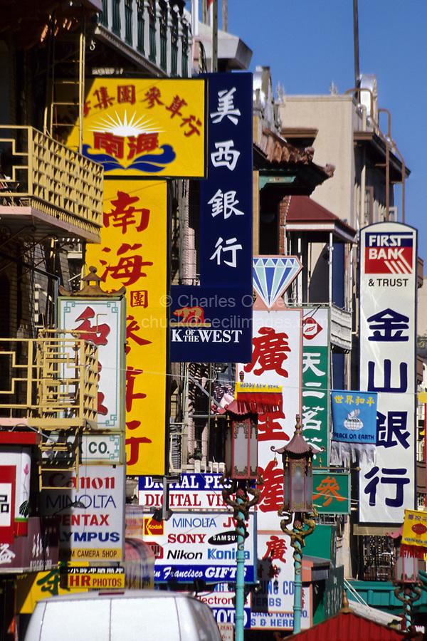 San Francisco, California.  Grant Street, Chinatown, Store Advertisements.