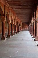 Agra, India.  Taj Mahal.  Walkway along one of the Side Buildings.