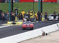 Jun 9, 2019; Topeka, KS, USA; NHRA pro mod driver Alex Laughlin loses control prior to hitting the wall during the Heartland Nationals at Heartland Motorsports Park. Mandatory Credit: Mark J. Rebilas-USA TODAY Sports