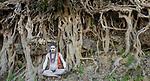 Naga Sadhu pilgrim during Kumbh Mela, Allahabad, India , banyan / strangler fig , banyan or strangler fig